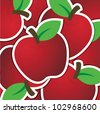 Red apple sticker background/card in vector format. - stock vector