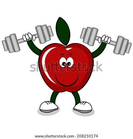 Red apple with dumbbells .  - stock vector