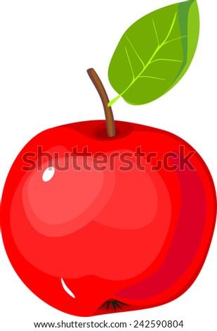 Red apple with green leaf - stock vector