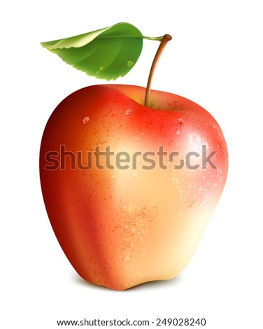 Red apple with green leaf. Vector illustration  - stock vector