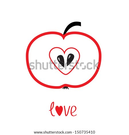 Red apple with heart shape. Love card. Vector illustration