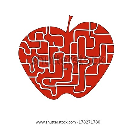 red apple with labyrinth