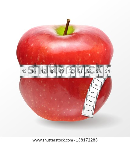 Red apple with measurement isolated on white. Vector illustration.