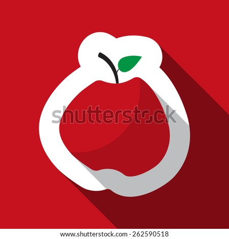 red apple with the green leaf and long shadow - stock vector