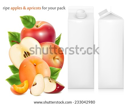 Red apples and ripe apricots with green leaves and water drops. Juice white carton package. Vector illustration - stock vector