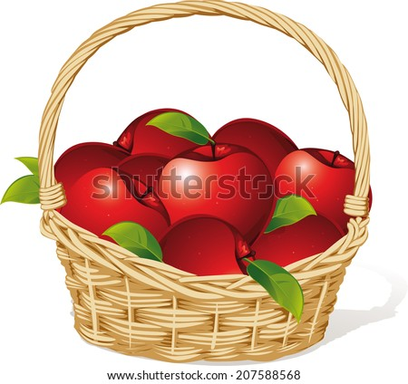 red apples in a basket isolated on white background - stock vector