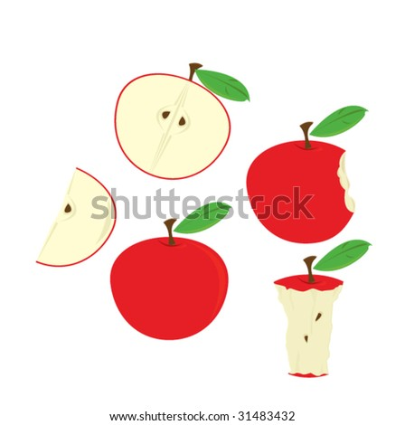 Red apples isolated - vector