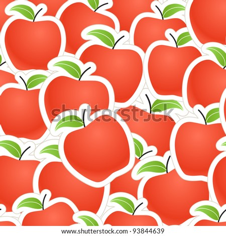 Red apples seamless background - stock vector