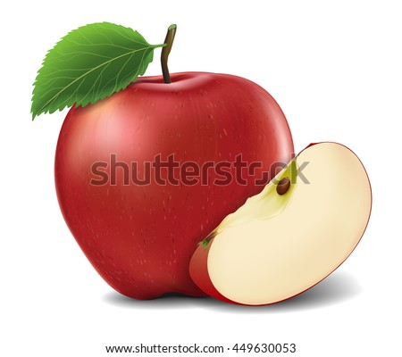 Red Apples with Green Leaves and Apple Slice - Vector Illustration. Realistic vector