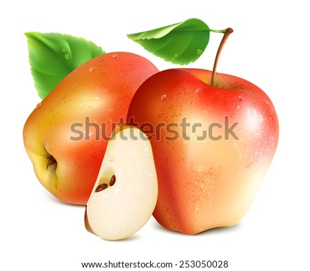 Red apples with slice and green leaf. Vector illustration - stock vector