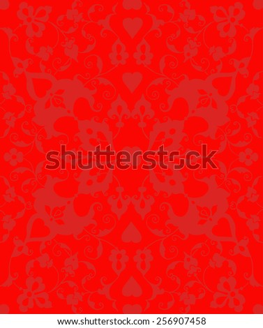 Red arabesque seamless pattern, baroque vector design - stock vector