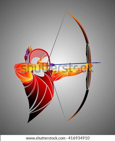 Red Archer, vector - stock vector
