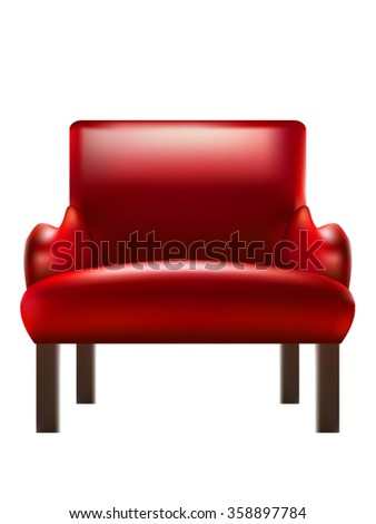 Red armchair isolated on white background - stock vector