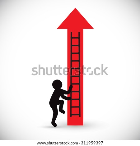 Red arrow and climbing figure man. Concept of business rise or scheme.  Isolated on white background.