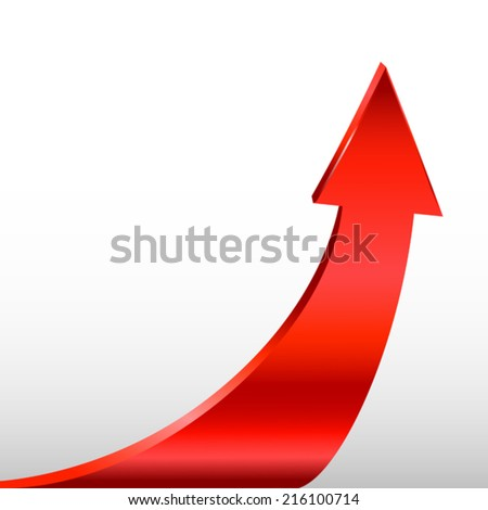 Red arrow and white background - stock vector