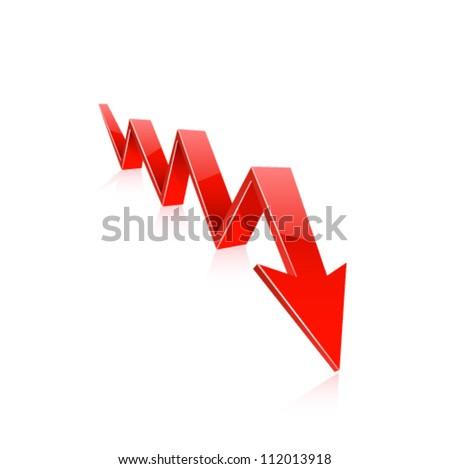 Red arrow downwards. Vector - stock vector