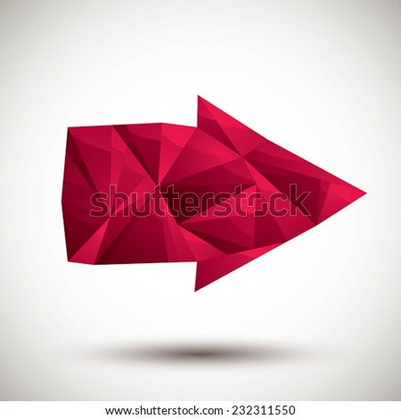 Red arrow geometric icon made in 3d modern style, best for use as symbol or design element. - stock vector