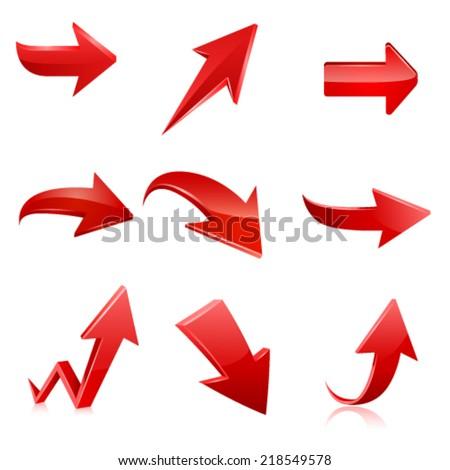 Red arrow icon set. Vector - stock vector