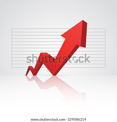 Red arrow pointing up. - stock vector
