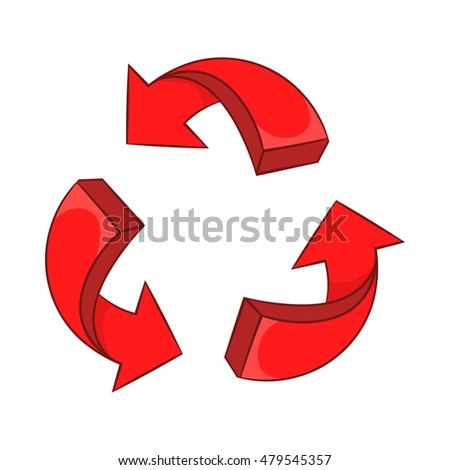 Red arrow recycling icon in cartoon style on a white background vector illustration