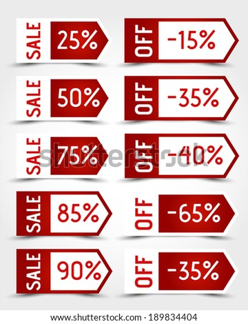 red arrow sale stickers. sale concept. - stock vector