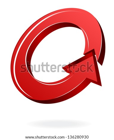 Red Arrows Ring Rotating - stock vector