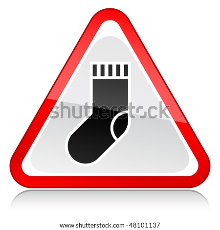 Red attention warning sign with sock symbol on white - stock vector
