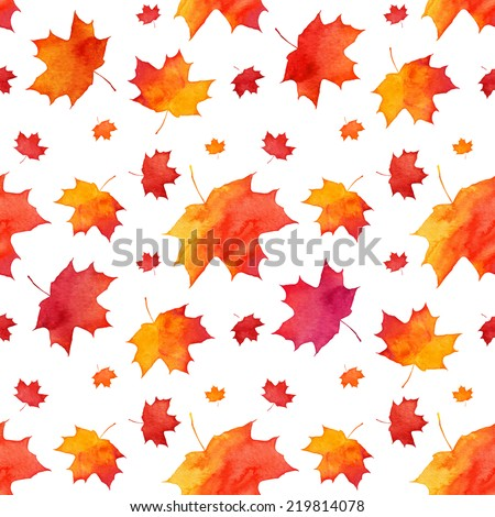 Red autumn maple leaves fall vector seamless pattern - stock vector