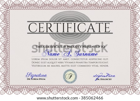 Red awesome certificate template award money stock vector 385062466 red awesome certificate template award money pattern with great quality guilloche pattern yadclub Gallery