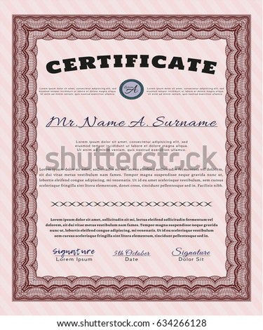 Vector Vintage Marriage Certificate Easy Edit Stock Vector