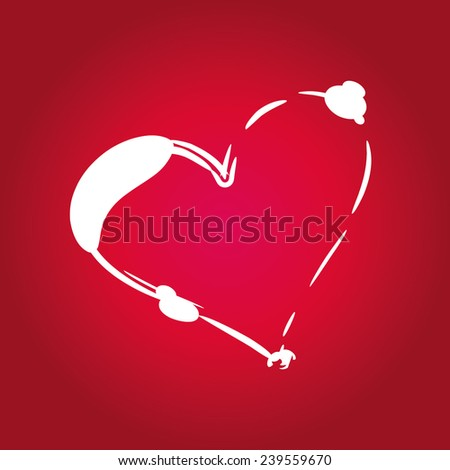 red background heart shape vector art