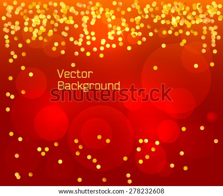 Red background holiday card with elegant graphic golden confetti -  flyer party design elements. Vector illustration EPS 10 for poster template, invitation new year, postcard layout, banner horizontal - stock vector