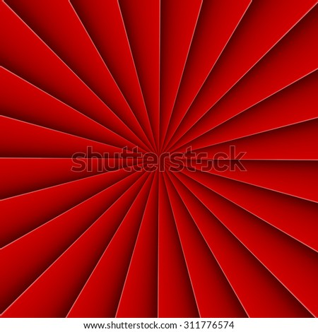 Red background in abstract form fan with bending line - stock vector