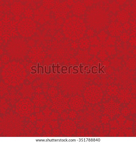 red background of snow crystals and doilies. seamless pattern.