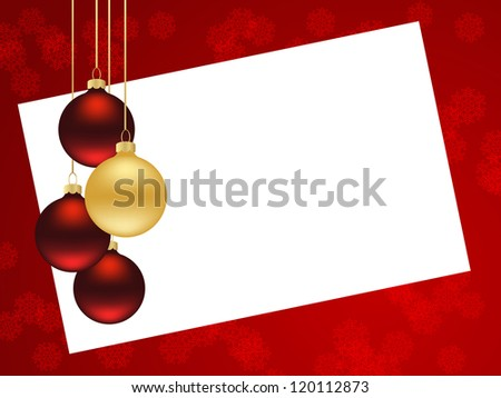 Red background with christmas decorations. Vector illustration.