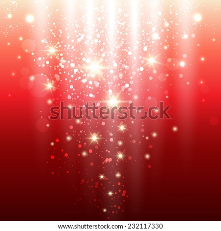 red background with glowing sparkles and glitter. vector illustration - stock vector
