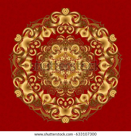 Seamless Damask Pattern Gold Red Texture Stock Vector
