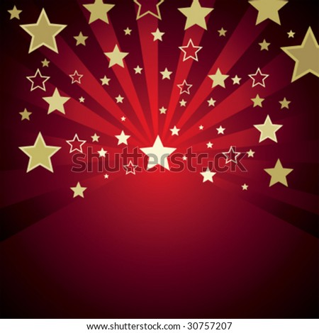 red background with gold stars - stock vector