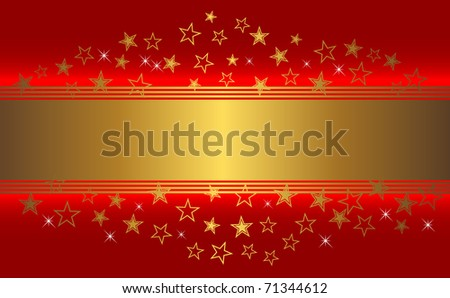 Red background with golden banner and stars. vector.