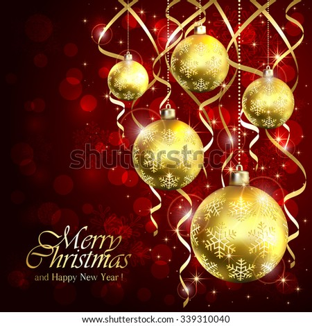 Red background with golden Christmas balls and tinsel, illustration. - stock vector