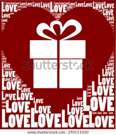 Red Background With Love Words Create Love Heart Symbol Together And Present Or Gift Silhouette In