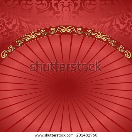 red background with ornaments