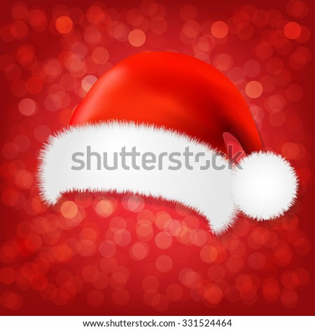 Red Background With Santa Claus Cap With Gradient Mesh, Vector Illustration - stock vector