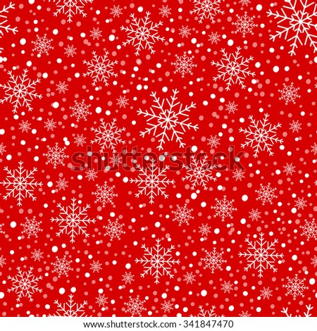 Red background with snowflakes. - stock vector