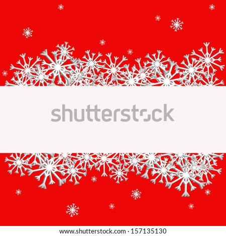 red background with snowflakes, illustration Stock