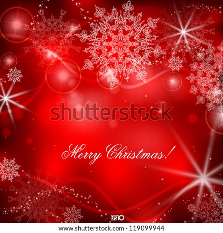 Red background with snowflakes. Vector illustration. Eps 10. - stock vector