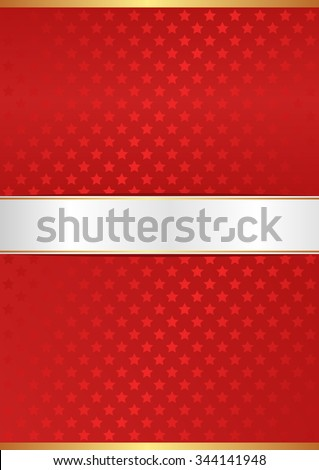 red background with stars and white tape - stock vector