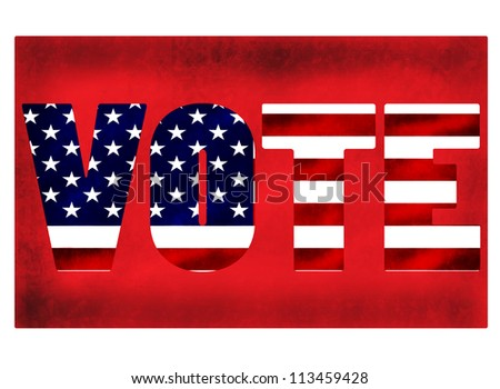 red background with text vote inside - stock vector