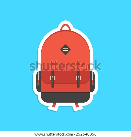 red backpack sticker with shadow. concept of trip around the world, schooling, hipster, traveling and trip. isolated on blue background. flat style trendy modern logo design vector illustration - stock vector