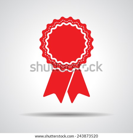 red badge with ribbons icon - vector illustration - stock vector